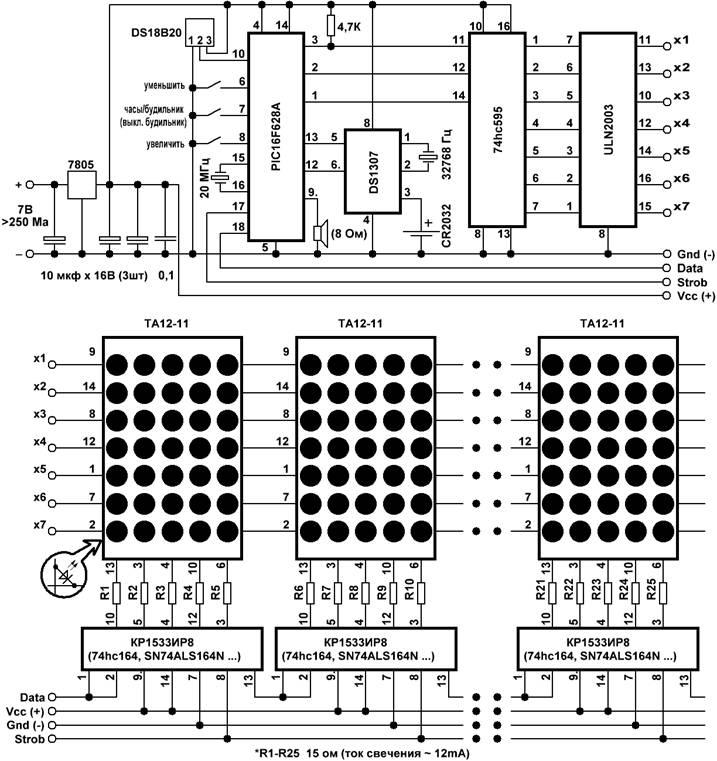 Часы-будильник-термометр на светодиодных матрицах (матричные часы) .