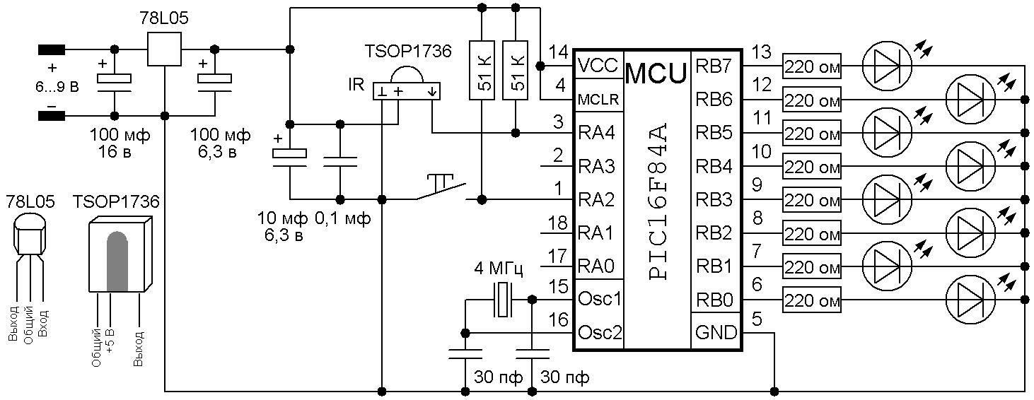 Представленный ИК-приемник дистанционного управления может быть встроен в самую разнообразную аппаратуру.