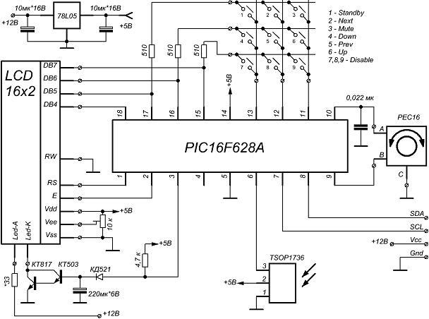 Аудиопроцессор включен по типовой схеме согласно документации.  Темброблок.